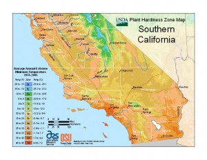 southern california plant hardiness zone map
