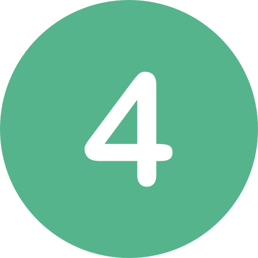 the number four in a green circle