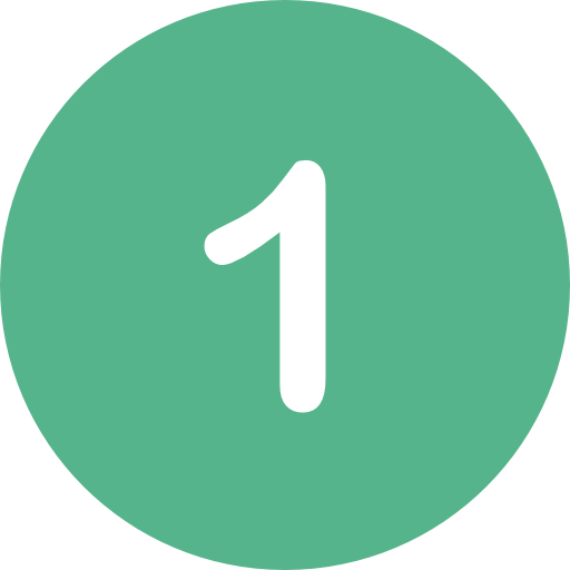 the number one in a green circle