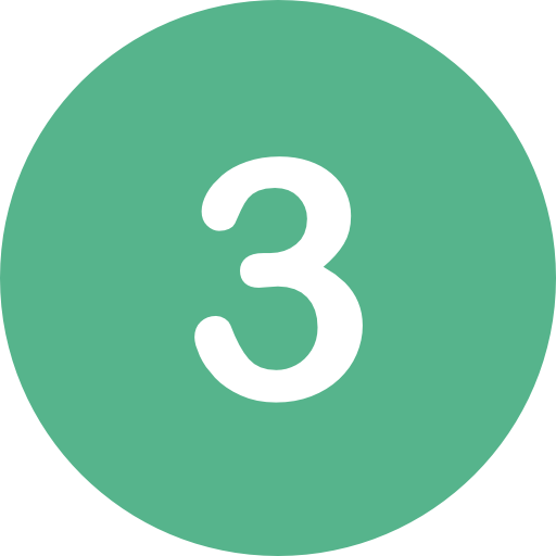 the number three in a green circle