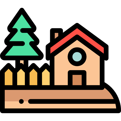 house with tree and fence icon